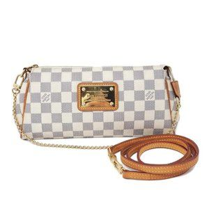Auth Louis Vuitton Eva Damier Azur Crossbody Bag